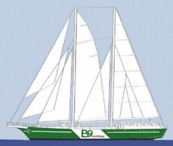 An early B9 design of a wind-biomethane powered cargo ship