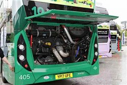 Scania doubledecker biogas bus for City of Nottingham - engine compartment