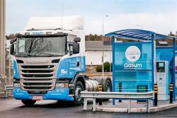 Gasum station with Scania truck