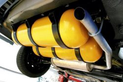 CNG cylinders under vehicle in Brazil