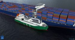 Aerial perspective of MOL's LNG bunker vessel alongside a container carrier