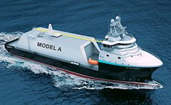 Rendering of new small-scale LNG carrier bunker-vessel design by ShipInox