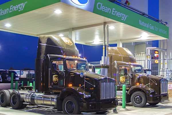UPS trucks refuel at Clean Energy station
